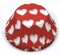 BC-13-100 White Hearts on Red Standard Baking Cup 100 ct.