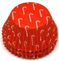 BC-15-100 Candy Cane printed on Red Standard Baking Cup 100 ct.