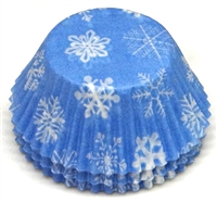 BC-16-100 Snowflake printed on Lt. Blue Standard Baking Cup 100 ct.