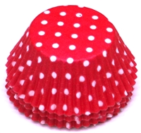 BC-21-100 White Polka Dot on Hot Pink Standard Baking Cup 100 ct.