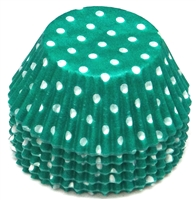 BC-22 White Polka Dot on Teal Green Standard Baking Cup 500 ct.