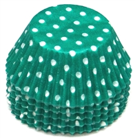 BC-22-100 White Polka Dot on Teal Green Standard Baking Cup 100 ct.