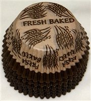 "BC-23-100 ""Fresh Baked"" printed Brown/Beige Standard Baking Cup 100 ct."