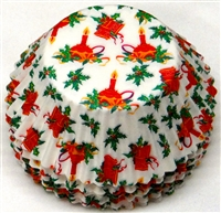 BC-50-100 Red Bells, Candle, Grn. Holly, Christmas Design on White Standard Baking Cup 100 ct.