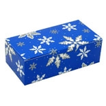 BO-1080FB 1/2 lb. Blue with Snowflakes. 1 piece box. 5 1/2in. x 2 3/4in. x 1 3/4in. Quantity 250