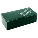 "BO-1080FGXG 1/2 lb. Green ""Season's Greetings"" 1 piece box. 5 1/2in. x 2 3/4in. x 1 3/4in. Quantity 250"