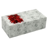 BO-1080PO  1/2 lb. Poinsettia Box. 1 piece. 5 1/2in. x 2 3/4in. x 1 3/4in. Quantity 250