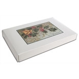 BO-109 1 lb. 2 piece Mistletoe Merry Christmas cover with white base. 9 3/8in. x 6in x 1 1/8in. Quantity 10