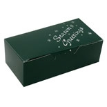 "BO-1110FGXG 1 lb. Green ""Season's Greetings"" 1 piece box. 7in. x 3 3/8in. x 2in. Quantity 250"