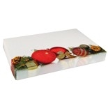 "BO-120Q  1/2 lb. Pinecones and Ornaments Cover with White Base 7 1/8"" x 4 1/2"" x 1 1/8"" Quantity 125"
