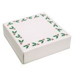 "BO-122Q 3 oz. Holly Print Cover with White Base. 3 11/16"" x 3 11/16"" x 1 1/8"" Quantity 125"