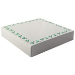 "BO-123 8 oz. Holly Print Cover with White Base. 5 3/4"" x 5 3/4"" x 1 1/8"" Quantity 10"