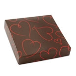 "BO-130  3 oz. 2 Pc. Chocolate Brown w/ Red Hearts Square Cover,3 1/2"" x 3 1/2"" x 1 1/8"". Quantity 10"