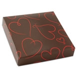 "BO-132Q  16 oz. 2 Pc. Chocolate Brown w/ Red Hearts Square Cover,7 9/16"" x 7 9/16"" x 1 1/8"". Quantity 100"