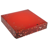 "BO-134  8 oz. 2 Pc. Red Foil Hearts Square Cover & white base 5 1/2"" x 5 1/2"" x 1 1/8"" Quantity 10"