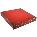 "BO-135Q  16 oz. 2 Pc. Red Foil Hearts Square Cover & white base 7 9/16"" x 7 9/16"" x 1 1/8"" Quantity 100"