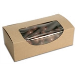"BO-19KW-Q Kraft 1pc. box w/window (1/2lb.) 5 1/2"" x 2 3/4"" x 1 3/4"" Quantity 250"