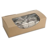 "BO-22KW 1 pc., 1lb. 7"" x 3 3/8"" x 2"" Kraft Box w/window. Quantity 50"