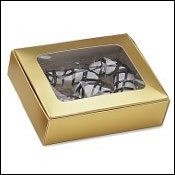 "BO-26G Gold 1pc. w/window (1/4 lb.) 4 1/2"" x 3 1/2"" x 1 1/4"" Quantity 50"