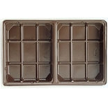 BO-3IFB 1/2 lb Brown Fudge 2 cavity, 6 15/16 x 4 3/8 x 7/8 Quantity 25