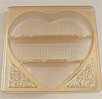 BO-40HIG  Gold Heart Insert Candy Tray 3 cavity 5 1/2 x 5 1/2 x 15/16 fits box BO-40, 40G, BO-75. Quantity 25