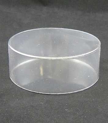 "BO-50 Clear Round Acetate Box 2 piece. 4"" diameter x 1 1/2"" deep."