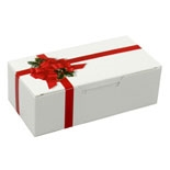 BO-5121 1/4 lb. Ribbon & Holly Box. 1 piece. 4 1/2in. x 2 5/16in. x 1 1/8in. Quantity 250