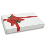 BO-68Q 1 lb. 2 piece Ribbon & Holly Cover with white base. 9 3/8in. x 6in. x 1 1/8in. Quantity 100
