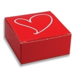 "BO-93 One Piece Square Red Maxi Box with White Heart 2 1/2"" x 2 1/2"" x 1 1/8"" Quantity 50"