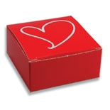 "BO-93Q  One Piece Square Red Maxi Box with White Heart 2 1/2"" x 2 1/2"" x 1 1/8"" Quantity 100"