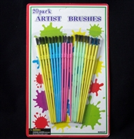 "BR-12  Brushes. 1/4"" artist brushes with plastic handle. Quantity 20 brushes"