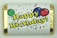 "MW-01 ""Happy Birthday"" Mini Candy Bar Wrapper (sticker) 1 1/2 x 3 1/2 (4 sheets) 60 pcs"