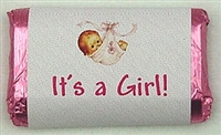 "MW-07 ""It's a Girl"" Mini Candy bar wrapper (sticker)1 1/2in. x 3 1/2in. (4 sheets) 60 pcs"