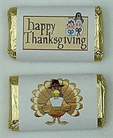 "MW-16 Thanksgiving assortment #2 Mini Candy Bar Wrapper (sticker) 1 1/2"" x 3 1/2"" (2 sheets of each design) 60 pcs"