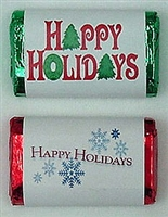 "MW-17 ""Happy Holidays"" Mini Candy Bar Wrapper (sticker) 1 1/2"" x 3 1/2"" (2 sheets of each design) 60 pcs"