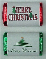 "MW-18 ""Merry Christmas"" Mini Candy Bar Wrapper (sticker) 1 1/2"" x 3 1/2"" (2 sheets of each design) 60 pcs"