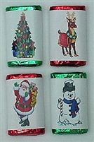 MW-20 Christmas Assortment #2 Mini Candy Bar Wrapper (sticker) 1 1/2in. x 3 1/2in. (1 sheet of each design) 60 pcs