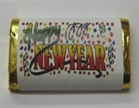 "MW-22 ""Happy New Year"" Mini Candy Bar Wrapper (sticker) 1 1/2in. x 3 1/2in. (4 sheets) 60 pcs"