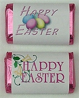 "MW-25 ""Happy Easter"" Mini Candy Bar Wrapper (sticker) 1 1/2"" x 3 1/2"" (2 sheets of each design) 60 pcs"