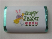 "MW-27 ""Happy Easter Bunny"" Mini Candy Bar Wrapper (sticker) 1 1/2 x 3 1/2 4 sheets 60 pcs"