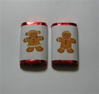 MW-43 Gingerbread Boy & Girl Mini Candy Bar Wrapper (sticker) 1 1/2 x 3 1/2 (2 sheets of each design) 60 pcs