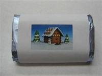 "MW-44 ""Gingerbread House"" Mini Candy Bar Wrapper (sticker) 1 1/2"" x 3 1/2"" (4 sheets) 60 pieces"