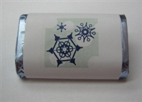 "MW-48 ""Snowflakes"" Mini Candy Bar Wrapper (sticker) 1 1/2"" x 3 1/2"" (4 sheets) 60 pieces"