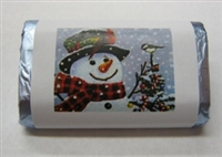 "MW-49 ""Snowman"" Mini Candy Bar Wrapper (sticker) 1 1/2"" x 3 1/2"" (4 sheets) 60 pieces"