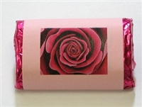 "MW-66 ""Blooming Rose"" Pink Mini Candy Bar Wrapper (sticker) 1 1/2in. x 3 1/2in. (4 sheets) 60 pcs"