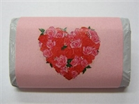 "MW-67 ""Heart of Roses"" Pink Mini Candy Bar Wrapper (sticker) 1 1/2in. x 3 1/2in. (4 sheets) 60 pcs"