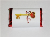 "MW-69 ""Key To My Heart"" Mini Candy Bar Wrapper (sticker) 1 1/2in. x 3 1/2in. (4 sheets) 60 pcs"