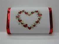 "MW-70 ""Vine of Hearts"" Mini Candy Bar Wrapper (sticker) 1 1/2in. x 3 1/2in. (4 sheets) 60 pcs"