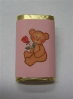 "MW-75 ""Teddy Bear with a Rose"" Pink Mini Candy Bar Wrapper (sticker) 1 1/2in. x 3 1/2in. (4 sheets) 60 pcs"