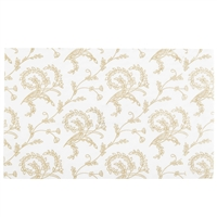 PD-02  Gold floral on white candy pad (fits 1/2 lb. rectangle boxes) 4 1/4in. x 6 7/8in. Quantity 125
